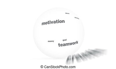 Vision Word Sphere - Flying words forming a Vision Word...