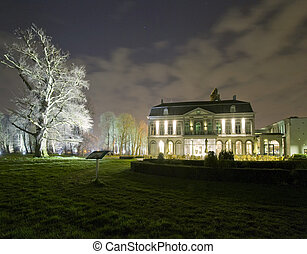 Castle at night - A stately castle, nicely illuminated and...