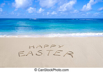 "Sign ""Happy Easter"" on the beach - Sign ""Happy Easter"" on..."