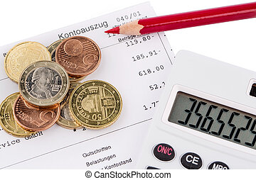 statement of account and coins - the bank statement and some...
