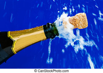 corks and champagne bottle - champagne bottle is opened cork...