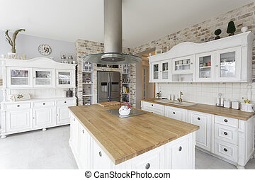 Tuscany - kitchen - Tuscany - white shelves and commode in...