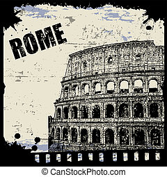 Vintage view of Rome on the grunge poster, vector...
