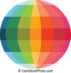 Multicolour globe icon, vector