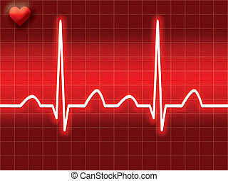 Red heart bit illustration of Electro-cardiograph screen