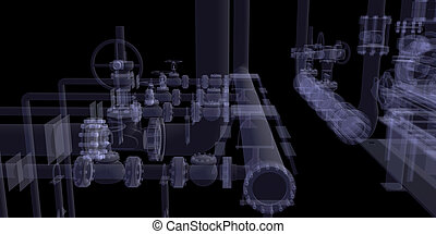 Industrial equipment. X-Ray render