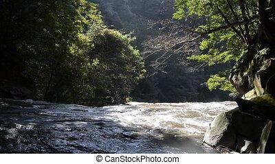 River flows down
