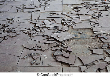 Asbestos tiles - Old and broken asbestos floor tiles
