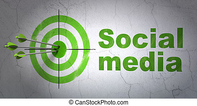 Success social media concept: arrows hitting the center of target, Green Social Media on wall background, 3d render