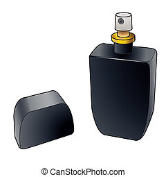 black cologne spray bottle vector - black bottle of perfume...