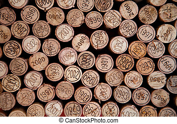 Cork background - Background made with wine cork with dates