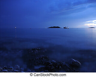 Calm sea at night