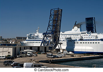 Marseille ferry - A passenger ferry in Marseille leaving the...