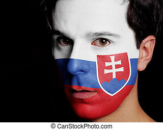 Flag of Slovakia Painted on a Face of a Young Man