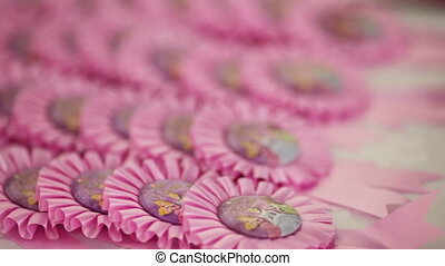 Breast Badges - Pink breast badges for children's birthday