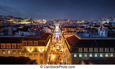 Lisbon Downtown - Beautiful nightime view of old downtown in...