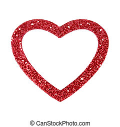 Heart Frame - Red glitter heart picture frame isolated