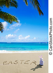 """Sign """"Easter"""" with bunny on the beach"""