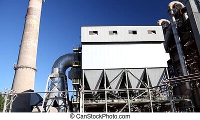 Cement factory view blue sunny day