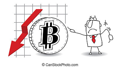 Bitcoin is growing down - fluctuation of the bitcoin in the...