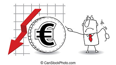 Euro is growing down - fluctuation of the euro in the down