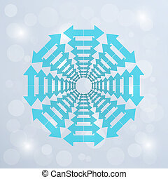 circle of inverse arrows - circle created from blue inverse...