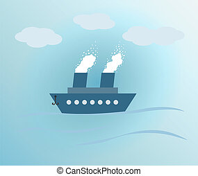 blue background with ship