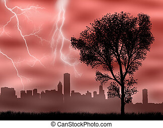 City in the storm
