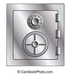 Metallic safe for storage of valuables. Vector illustration.