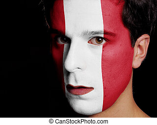Flag of Peru Painted on a Face of a Young Man