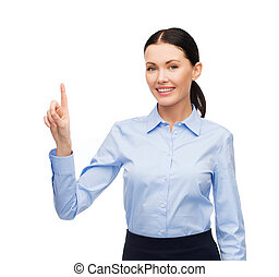 woman working with imaginary virtual screen - business, new...