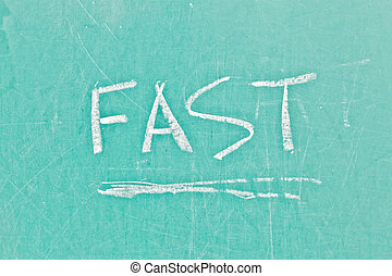 Fast sign - Fast written in white chalk on a green board