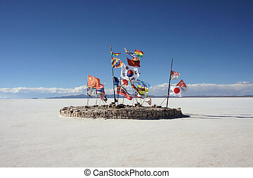 World flags in the Uyuni salt flats, Bolivia
