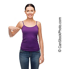 smiling girl in blank purple tank top - clothing design and...