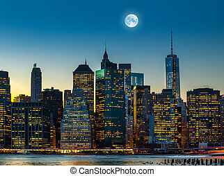 Moon over Manhattan. New York City skyline