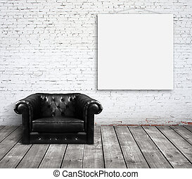 sofa in room and poster on wall