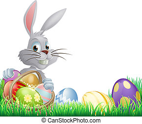 Easter eggs bunny - White Easter eggs bunny peeking over a...