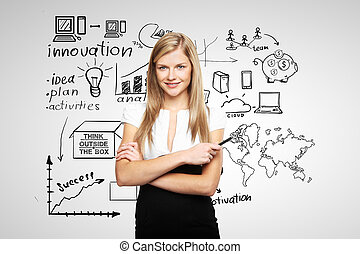 drawing business concept - young businesswoman and business...