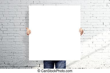 white blank poster - man holding white blank poster