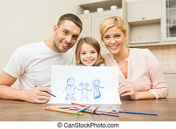 happy family drawing at home - family, children and happy...