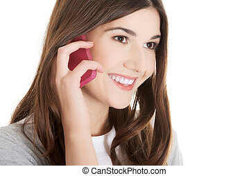 Young beautiful woman with phone.
