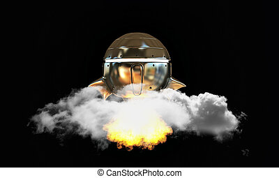 unidentified flying object isolated on black background