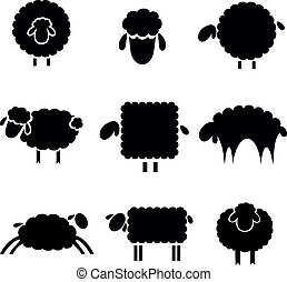 black silhouette of sheeps on a light background - black...