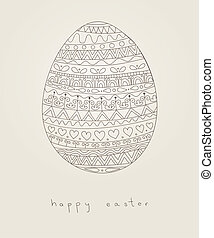 Easter card with doodle egg