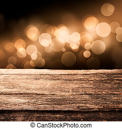 Wooden board with sparkling party lights - Old weathered...