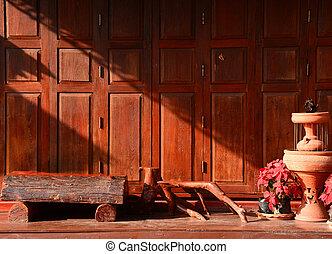 Thai style vintage wooden door