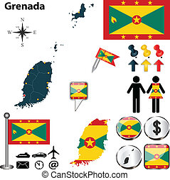 Map of Grenada - Vector of Grenada set with detailed country...