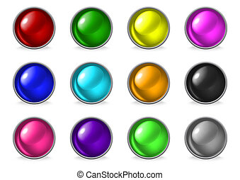 Colorful glossy buttons set