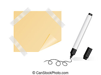 Black marker, yellow sticker with scotch tape - Illustration...