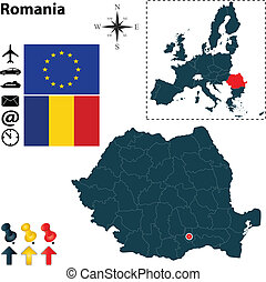 Map of Romania with European Union